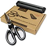 Heavy Duty Kitchen Shears - Multi Purpose Scissors Best for: Poultry, Fish, Seafood, Herbs, Vegetables, Meat and BBQ - Magnetic Bar included.