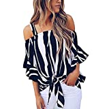 Women's Tops, BOLUBILUY Cold Shoulder Striped Spaghetti Strap T Shirt Tie Knot Casual Blouse Slash Neck Print Vest