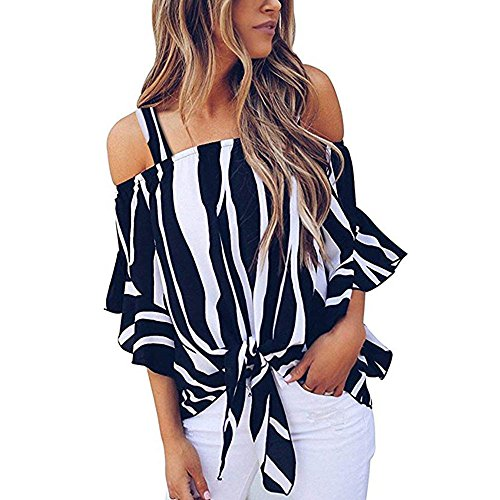 Yamally Summer Blouse Plus Size for Women,Ladies Holiday Off Shoulder Stripe Waist Tie Bohemian Party Tops T Shirts Dark Blue (Stripe Ties Twist)