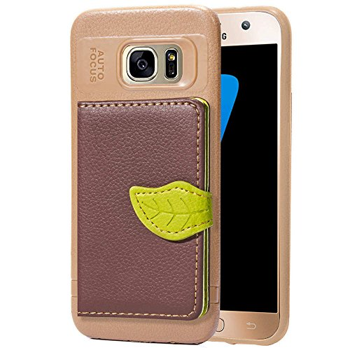 Galaxy S7 Case,DAMONDY Luxury Leaf Wallet Purse Card Holders Design Cover Soft Bumper Shockproof Flip Leather Kickstand Case for Samsung Galaxy S7-Brown