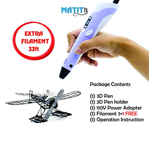 Matit 3D Pen, Professional Drawing 3D Printing Pen for Kids & Adults, 1.75mm PLA 3D Printing Pen, Doodler Drawing, Modern Arts & Crafts Tool, with Filaments + 33ft EXTRA FILAMENT by Matit