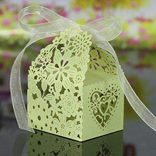 (BROSCO 20Pcs Hollow Out Chocolate Candy Gift Boxes Wedding Party Favor Box with Ribbon | Color - Hollow Out Pattern Green)