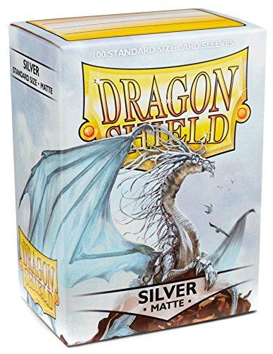 Dragon Shield Matte Silver 100 Deck Protective Sleeves Standard Size - 100 Dragon Shield Sleeves