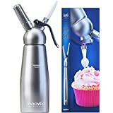 Innovee Cream Whipper (1-Pint) Professional Aluminum Whipped Cream Dispenser W/3 Decorating Nozzles & Free Desserts Recipes (e-book) Uses Standard N20 Cartridges (not included)