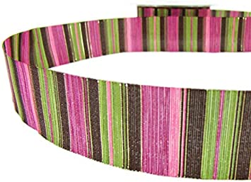 "5 Yards SALE Pink Brown Green Shiny Gold Striped Ribbon 1/""W"