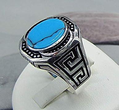 51d597dbdf71 Anillo de sello étnico para hombre en plata y turquesa. Joyas minerales.  Regalo para el