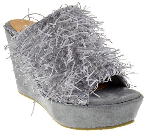 - Nature Breeze Wilma 01 Peep Toe Confetti Fringy Wedge Platform Sandals Grey 9