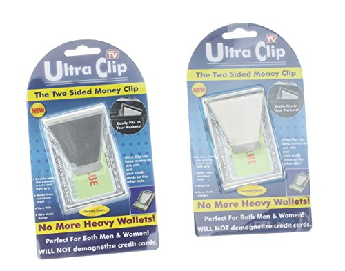 2 Ultra Clips Double Sided Money Clip Wallet Credit Card ID Holder As Seen On TV
