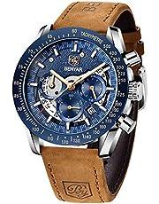 BENYAR Montre pour Hommes Chronographe Quartz Cadran Squelette Bracelet en Cuir 30M étanche Montre Militaire de Sport de Mode Cadeau Elegant
