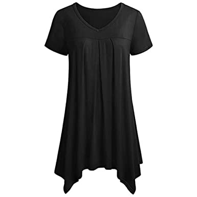 645b55ba2c1 Image Unavailable. Image not available for. Color  iYYVV Women Plus Size  Short Sleeve Ruched Dress Irregular Hem Pullover T-Shirt Blouse
