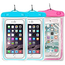 2Pack Blue+1Pack Pink Universal Waterproof Phone Case Dry Bag CaseHQ for iPhone 4/5/6/6s/6plus/6splus Samsung Galaxy s3/s4/s5/s6 etc. Waterproof,Snow Proof Pouch for Cell Phone up to 5.7 inches