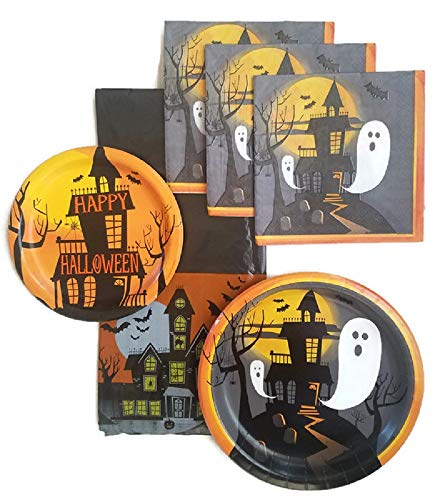 Halloween Party Supplies Paper Plate and Napkin Bundle of 4 - Service for 8 ()