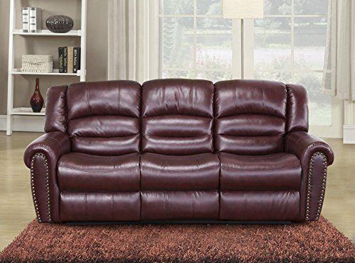 Meridian Furniture Nailhead Reclining Sofa, Burgundy