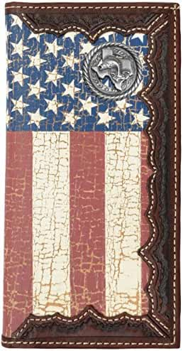 Custom Texas Bass Fishin American Flag Long Wallet with Distressed United States Flag