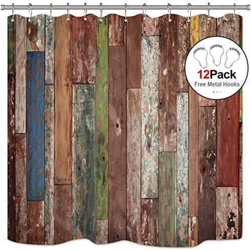 Riyidecor Antique Wooden Shower Curtain Metal Hooks 12 Pack Red Blue Grey Grunge Rustic Planks Barn House Wood Lodge Hardwood Decor Fabric Bathroom Waterproof 72x72 -