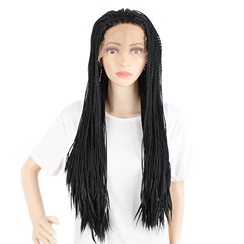 Search : African American Woman Hand Knoted-Braided Lace Hair Wigs Heat Resistant Synthetic Hair Box Braid Lace Front Wigs 1B#(26 inch,1 piece)