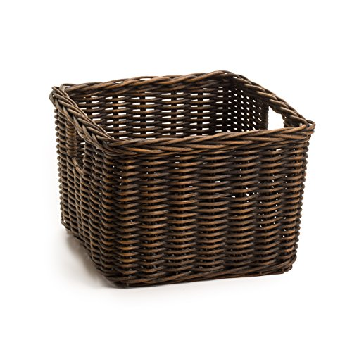 The Basket Lady Low Square Wicker Shelf Basket, Large (8