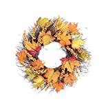 Christmas Maple Leaf Wreath Rattan,Wreath Pendant Decoration for Decorative Indoor