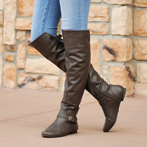Collection Toe Round Taupe Tall Buckle Boots Riding Journee Womens dtqwRId