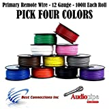 12 GA PRIMARY POWER GROUND WIRE (4) 100FT ROLLS BOAT CAR 12-80 VOLT MULTI COLOR