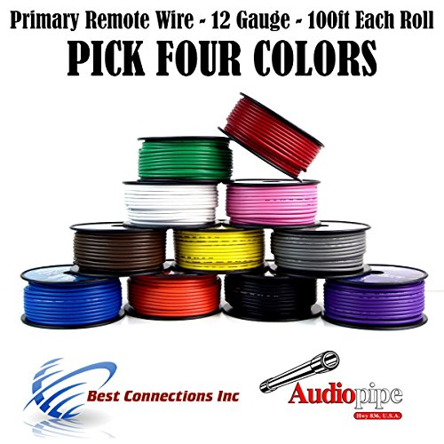 12 GA PRIMARY POWER GROUND WIRE (4) 100FT ROLLS BOAT CAR 12-80 VOLT MULTI COLOR by Audiopipe