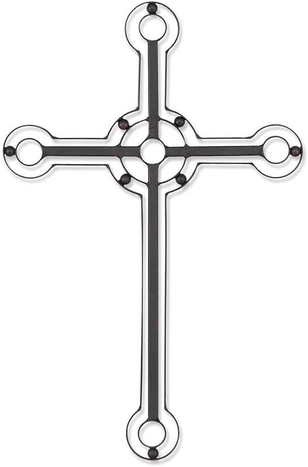 "Dicksons Metal Wall Cross - 18"" Mahogany Tone with Bead Trim"