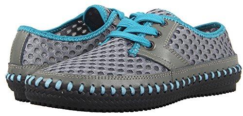 MOHEM Poseidon Frauen Luft schnell trocknende Aqua Schuhe Slip-On Wasser Schuhe Casual Mesh Wanderschuhe Grau