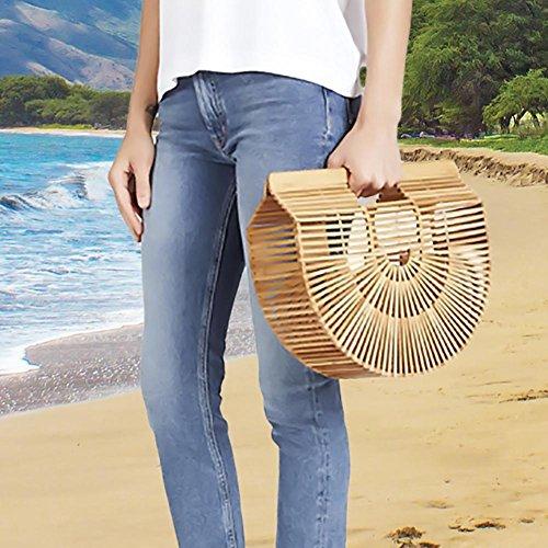 Círculo Las Bolsas Hecho Mano Bambú Superar La Bolsa Bolso Playa Mujeres A Trenzado Circulares Asa De Billeteras Para Bolsa Semi Noche Manijas Superior TYaIqg