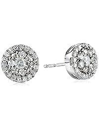 10k White Gold Round-Diamond Cluster Earrings (1/2 cttw)