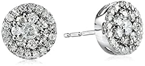 10k White Gold Diamond Cluster Round Earrings (1/2 cttw, I-J Color, I2-I3 Clarity)