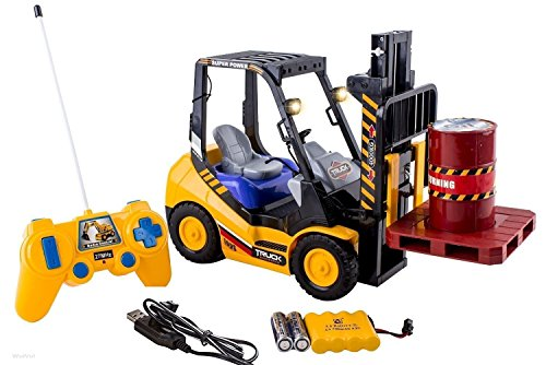 - WolVol 6 Channel Electric Rc Remote Control Full Functional Forklift Toy with Lights, Pallet and Barrel Pretend Play (Comes with All The Batteries and Battery Charger)