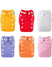 ALVABABY Newborn Cloth Diapers Pocket for Less Than 12 Pounds Boys and Girls Cloth Diaper Nappy 6 Pack with 12 Inserts 6SVB05