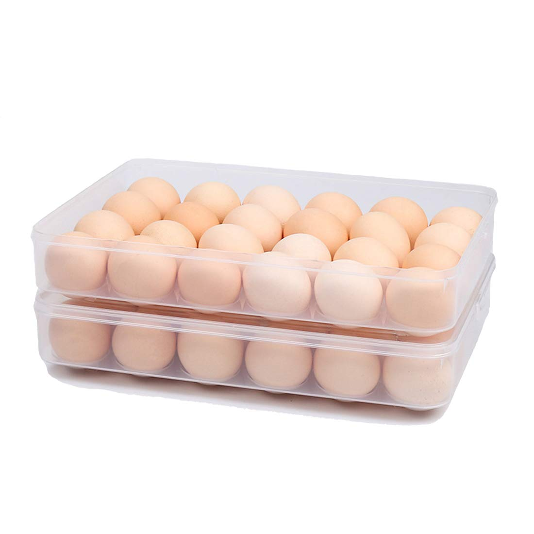STARSLIFE Egg Holder for Refrigerator with Lid, Covered Eggs Tray Carrier Food Storage Containers, Plastic Stackable Organizer Case Protect and Keep Fresh for Fridge, Total Stores 48 eggs (Pack of 2)