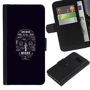 // PHONE CASE GIFT // Moda Estuche Funda de Cuero Billetera Tarjeta de crédito dinero bolsa Cubierta de proteccion Caso Samsung Galaxy S6 / Typography Skull /