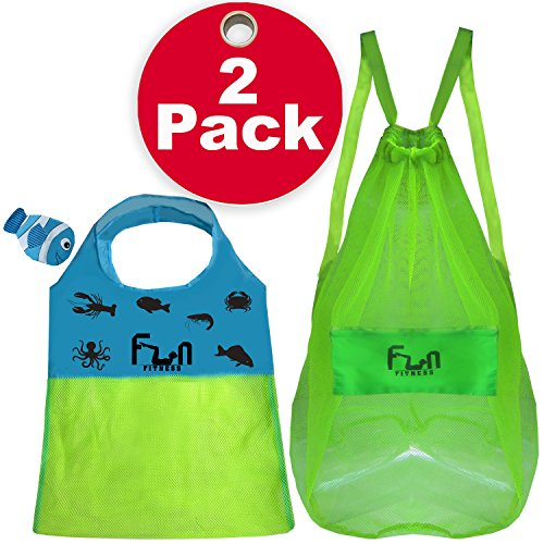 MESH BAG (2 Pack - FunFishBag & FunBag Green XXL) - Premium Net Tote Perfect for Kid Beach Toy, Seashells, Pool Towel, Swimsuit - Go Well with Sand Dipper & Sea Shell Sifter Tool