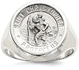 ICE CARATS 925 Sterling Silver Mens Saint Christopher Band Ring Size 9.00 Religious Man Fine Jewelry Dad Mens Gift Set