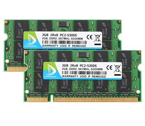 DUOMEIQI PC2-5300,667mhz DDR2 sdram DDR2-667 Sodimm Ram Laptop DDR2 2GB ddr2 4gb Kit(2x2GB) Laptop Memory CL5 1.8v Non-ECC Unbuffered 2RX8 PC2-5400S Notebook Module Intel AMD and MAC ()