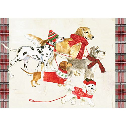 Graphique Dog Party Boxed Cards - 15 Embellished Glitter Holiday Cards of Dogs in Scarves, Christmas Cards Includes Matching Envelopes and Storage Box, 4.75