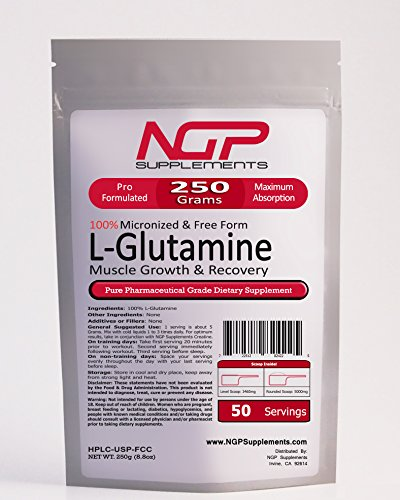 L-GLUTAMINE Powder 250g (8.8oz) -Free Form -Fast Recovery -Muscle Growth -Pure