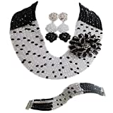 Nigerian Wedding African 10 Rows White and Clear AB Black Crystal Beads Bridal Jewelry Sets LCF068