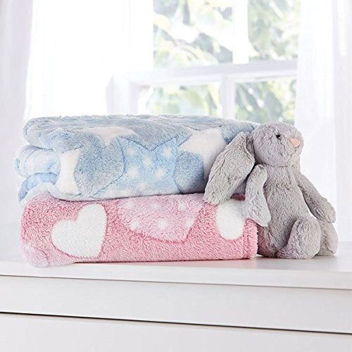 Clair de Lune Plush Star Baby Blanket, Blue CL5756