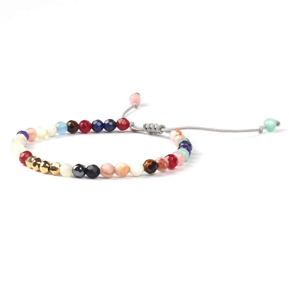 Shinus?Women Boho Bracelets Small Mala Beads Chakra Semi-Precious Tassel Faceted Statement Handmade Gold Beads Dainty Jewelry