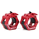 "Weightlifting Barbell Clamp Collar - BY POWER GUIDANCE - Quick Release Pair of Locking 2"" Olympic Bar - Great for Cross Fitness Training - (Red)"
