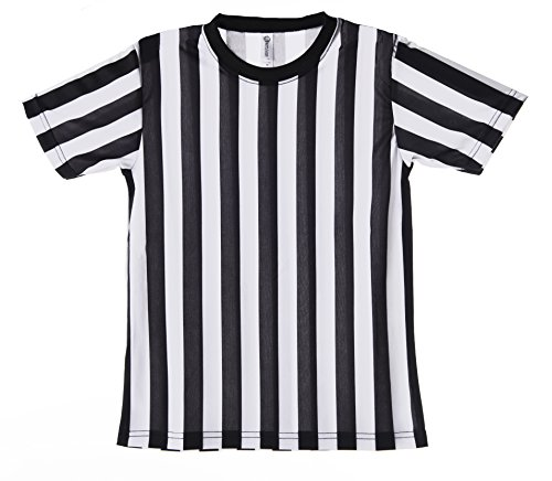 (Mato & Hash Children's Referee Shirt Ref Costume Toddlers Kids Teens - Black/White CA2004K)