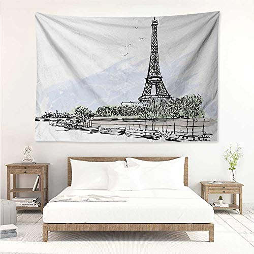 Paris,Wall Decor Tapestry Architecture Theme Illustration of Eiffel Tower Birds and Trees Pattern Print 80W x 60L Inch Tapestry Wallpaper Home Decor Black and White