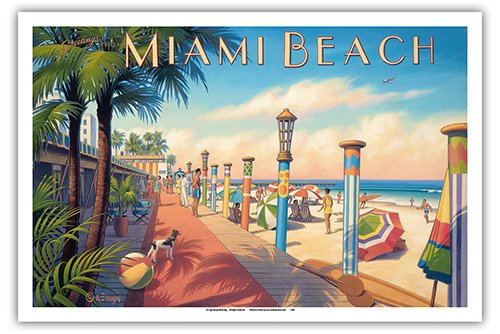 (Pacifica Island Art Miami Beach, Florida - Vintage Style World Travel Poster by Kerne Erickson - Master Art Print - 12 x)