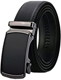 Men's Real Leather Ratchet Dress Belt with Automatic...