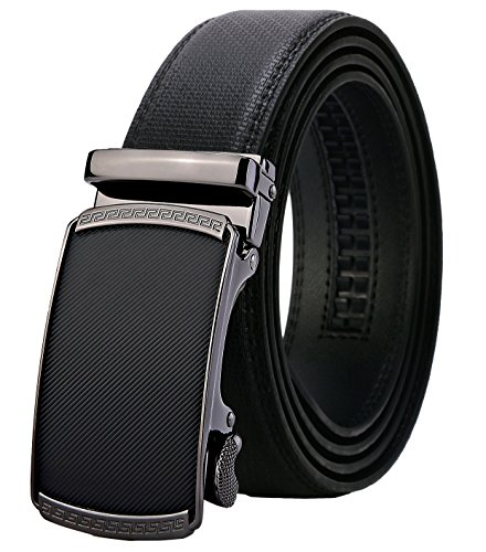 Lavemi Men's Real Leather Ratchet Dress Belt with Automatic Buckle,Elegant Gift Box(55-0191 52