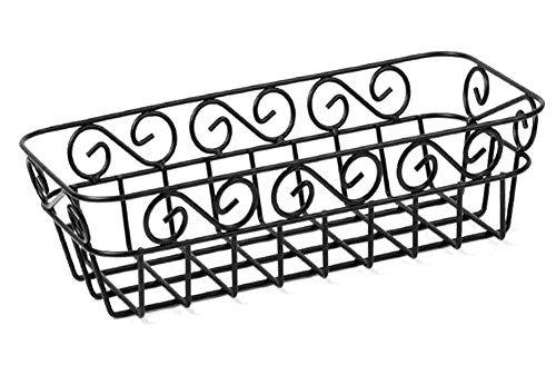 "Scroll Design Large Metal Bread Basket-Matte Black-13"" x 6.5"""