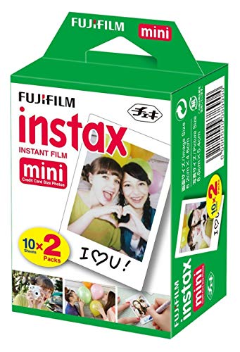Fujifilm instax Mini Instant Camera (Dark Black) with Film Twin Pack Bundle (2 Items)